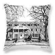 Zeta Tau Alpha Sorority House, Purdue University, West Lafayette, Indiana, Fine Art Print Throw Pillow