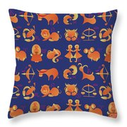 Zodiac Signs Set Throw Pillow by Ariadna De Raadt