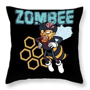 Zombee Zombie Bee Halloween For Beekeeper Apiarist Dark Light Throw Pillow
