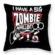 Zombie Repellent Halloween Funny Gun Art Dark Throw Pillow