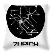 Zurich Black Subway Map Throw Pillow