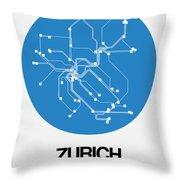 Zurich Blue Subway Map Throw Pillow