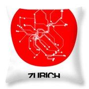 Zurich Red Subway Map Throw Pillow