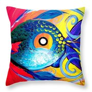 Blue Tongued Happy Boy Throw Pillow