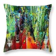 Forest Summer Rain Throw Pillow