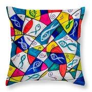 Twenty Plus Fish Triangulated Or Not Throw Pillow
