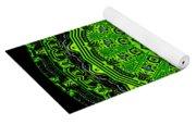 Kaleidoscope Of Glowing Circuit Board Yoga Mat