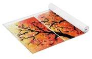 4-panel Snow On The Orange Cherry Blossom Trees Yoga Mat
