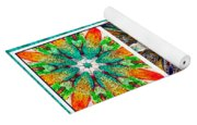 Abstract Flower Triptych Yoga Mat