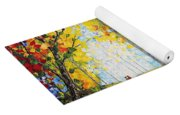After Rain Autumn Reflections Acrylic Palette Knife Painting Yoga Mat