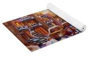 After School Winter Fun Street Hockey Paintings Of Montreal City Scenes Carole Spandau Yoga Mat