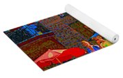 Afternoon Stroll French Bistro Sidewalk Cafe Colors Of Montreal Flags And Umbrellas City Scene Art Yoga Mat