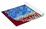 American Flag Map Of The United States In Vintage License Plates Yoga Mat