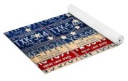 Betsy Ross American Flag Michigan License Plate Recycled Art On Red Board Yoga Mat