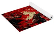 Black Cracks With Red Yoga Mat