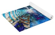 Blue And Rust Grunge Tunnel Yoga Mat
