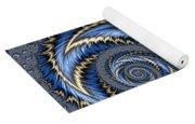 Blue Gold Spiral Abstract Yoga Mat