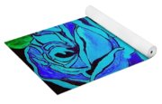 Blue Rose In The Rain Yoga Mat