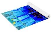 Blue Wallflower Abstract Yoga Mat