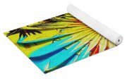 Bold Floral Hat Abstract Yoga Mat