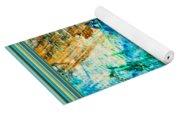 Borderized Abstract Ocean Print Yoga Mat