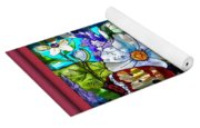 Butterfly Octagon Stained Glass Window Yoga Mat