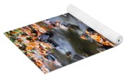 Cascading Autumn Leaves On The Miners River Yoga Mat