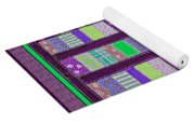 Coin Quilt - Quilt Painting - Purple And Green Patches Yoga Mat
