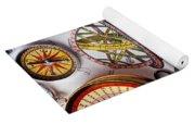 Compasses And Globe Illustration Yoga Mat