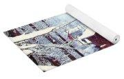 Covered Bridge In Winter Yoga Mat