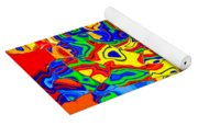 Crazy Day Abstract In Primary Colors  Yoga Mat