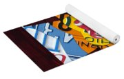Cross With Heart Rustic License Plate Art On Dark Red Wood Yoga Mat