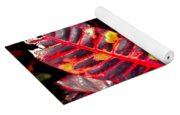 Croton Leaves In Black And Red Yoga Mat