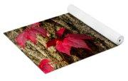 Fall Leaves Against Tree Trunk Yoga Mat
