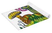 Fanciful Mushroom Nature Doodle Yoga Mat