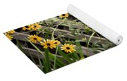 Fence Lined Wildflowers Yoga Mat