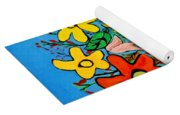 Flowers In A Blue Vase Yoga Mat