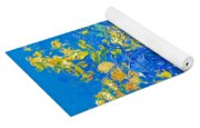 Flowers With Blue Background Yoga Mat