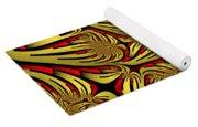Fractal Golden And Red Yoga Mat