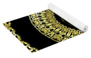 Gold And Black Stained Glass Kaleidoscope Under Glass Yoga Mat