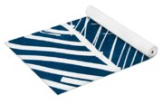 Indigo And White Leaves- Abstract Art Yoga Mat