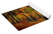 Kid With Backpack Walking In Fall Colors Yoga Mat