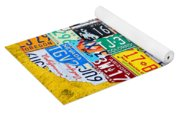 License Plate Art Map Of The United States On Yellow Board Yoga Mat