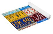 License Plates Of The Usa - Our Colorful American History Yoga Mat