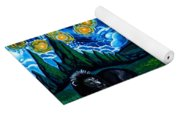 Lion And Owl On A Starry Night Yoga Mat