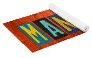 Mancave License Plate Letter Vintage Phrase Artwork On Burnt Orange Wood Yoga Mat