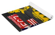 Michigan Love Recycled Vintage License Plate Art State Shape Lettering Phrase Yoga Mat