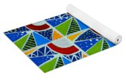 Moon - Mountains - Borealis - Quilt Painting Yoga Mat