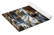 Mountain Biker Jumping With Snowy Yoga Mat