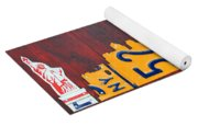 New York City Skyline License Plate Art 911 Twin Towers Statue Of Liberty Yoga Mat